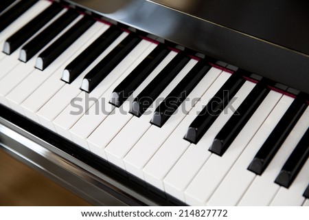 black and white keys on the piano - stock photo