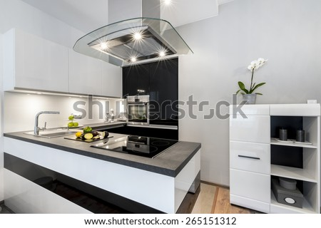 Black and white kitchen modern interior design house architecture - stock photo