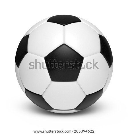 Black and white leather soccer ball