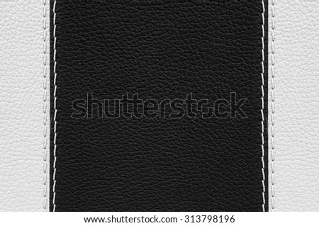 Black and white leather texture with white stitches - stock photo