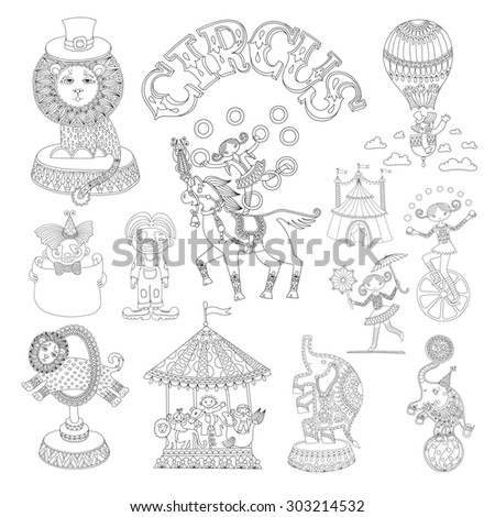 black and white line art drawings collection of circus theme, you can use like coloring book for adults, raster version illustration