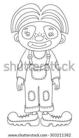 black and white line art illustration of circus theme - clown,  you can use like coloring book for adults, raster version illustration - stock photo