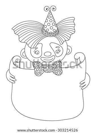 black and white line art raster version illustration of circus theme - clown with frame for your text, you can use like coloring book for adults - stock photo