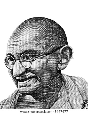 Black and white mahatma gandhi sketch isolated over white