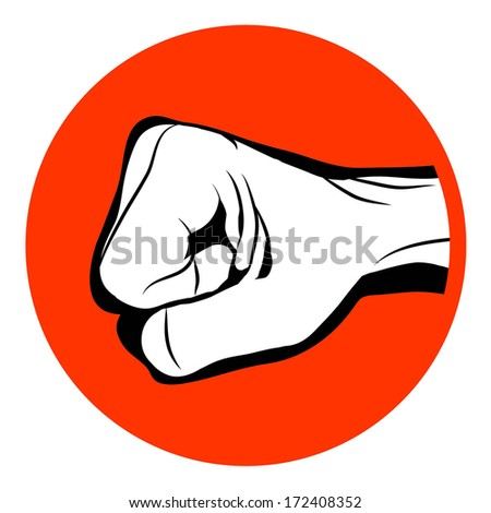 Black and white Man hand sign Hand with clenched a fist on red circle , isolated on white background raster - stock photo