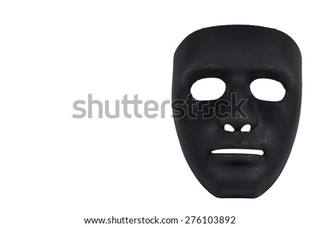 Black and white masks like human behavior isolate on white, conception - stock photo
