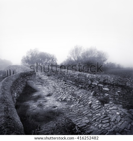 Black and white medium format film photographic shot. Romanesque road and bridge  in Girona province in Spain.  - stock photo