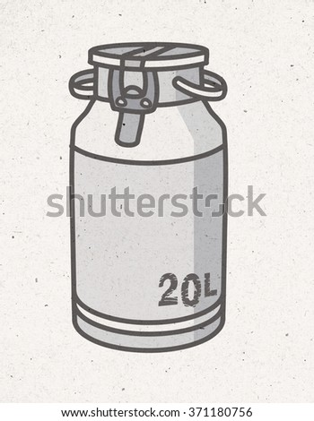black and white milk churn illustration - stock photo