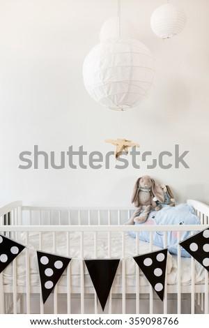 Black and white modern baby room design - stock photo