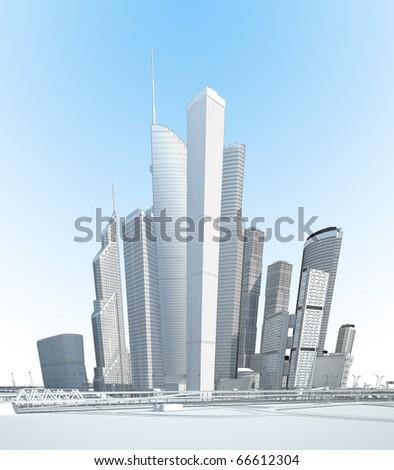 black and white modern city - stock photo