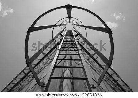 Black and white monochrome iron staircase stock photo