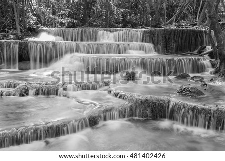 Black and White, Multiple layers natural waterfalls, in deep forest natural park