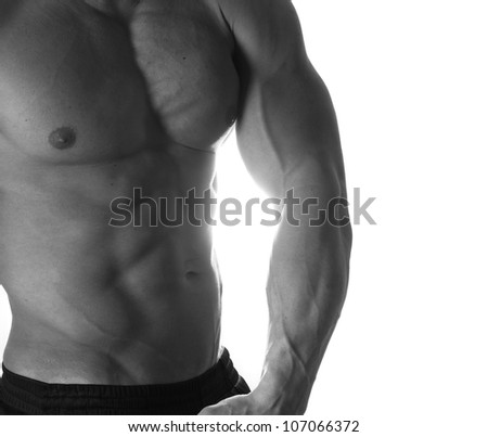 Black and white muscular male torso of bodybuilder - stock photo