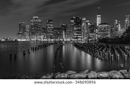 Black and white New York City at night, USA. - stock photo
