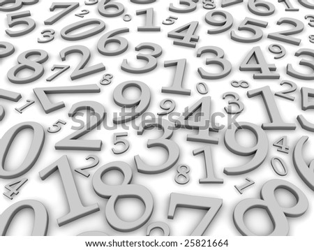 Black and white numbers background. 3d rendered illustration - stock photo