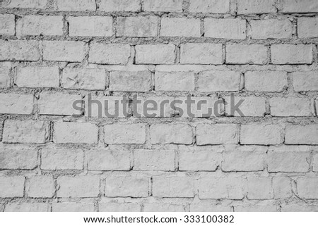 black and white of brick wall for background texture - stock photo