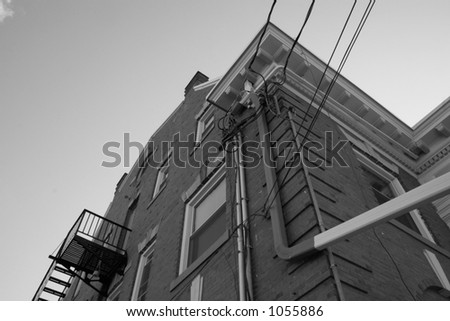 Black and white of building corner. - stock photo