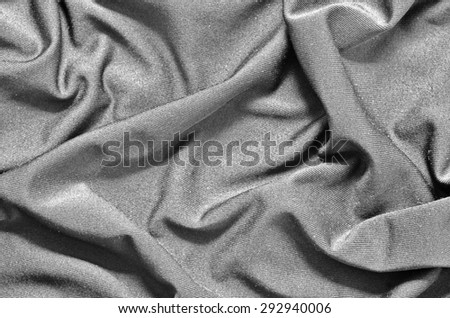 Black and White of Crumpled Spandex Soft Fabric Surface Texture Background - stock photo