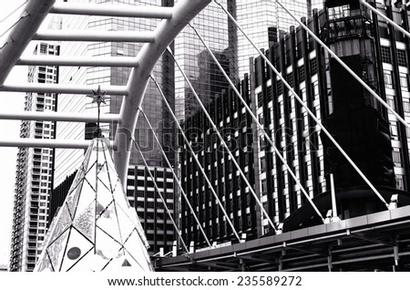 Black and white of Modern building and Structural /  Modern building and Structural - stock photo