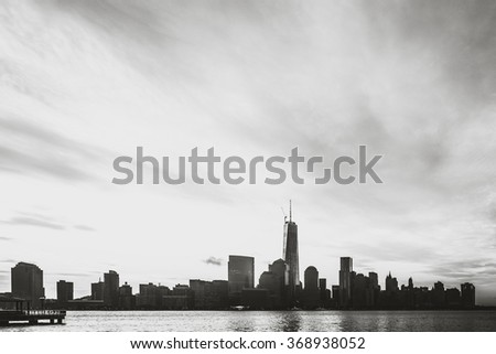 Black and White of NYC Skyline in the Summer