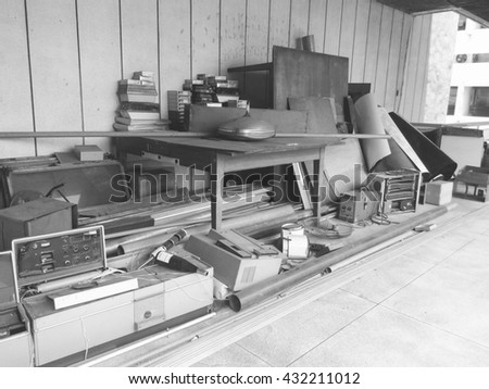 black and white of Obsolete, Electronic equipment waste. - stock photo
