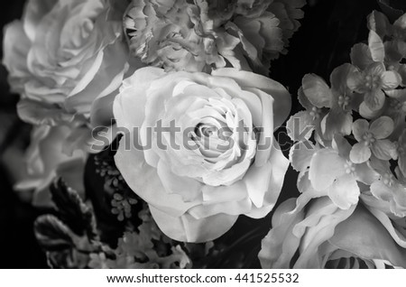 Black white rose artificial flower background stock photo royalty black and white of rose artificial flower as background selective focus mightylinksfo