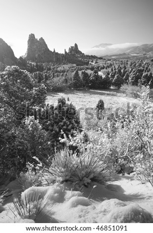 Black and white of the famouse Garden of the Gods Park in Colorado Springs, CO - stock photo