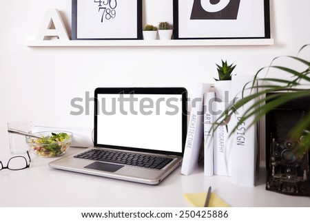 Black and white office at home. / Modern creative workspace.  - stock photo