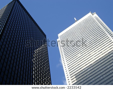 Black and white office towers, Toronto, Ontario, Canada. - stock photo