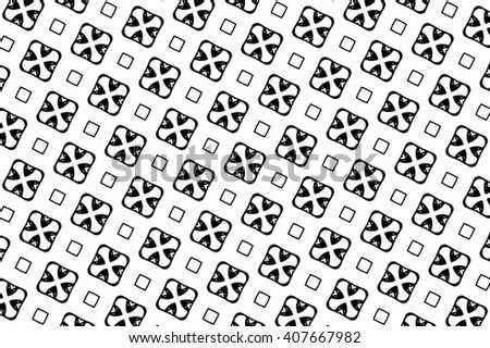 Black-and-white ornament with geometric elements and patterns. b