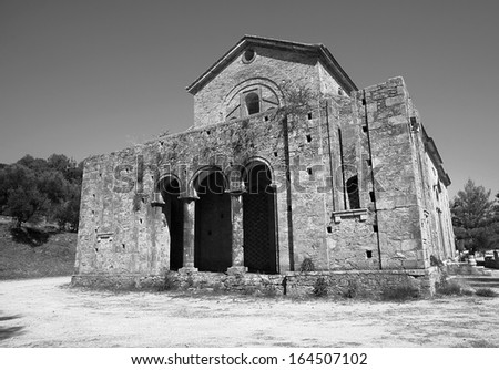 black and white Orthodox church in shreds, Zakynthos island, Greece