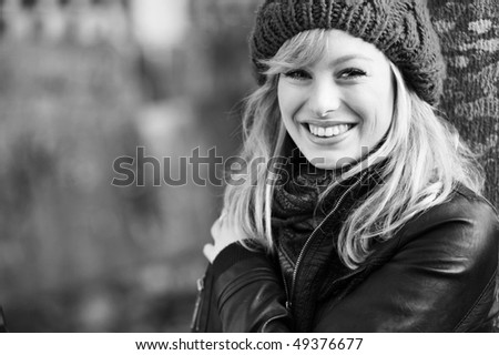 Black and White Outdoor Winter Portrait - stock photo