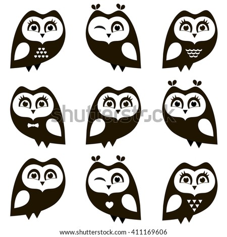 Black and white owls and owlets. Raster version - stock photo