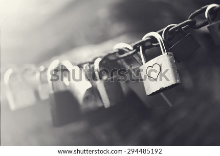 black and white padlocks with hart shape - stock photo