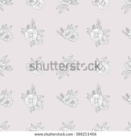 Black And White Pattern of Flowers and leaves.Floral Seamless Outline Monochrome Ornament.