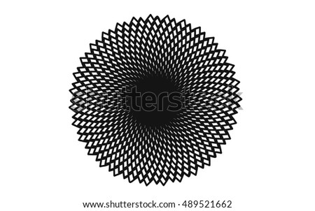 black-and-white pattern: spiral, circle, ornament