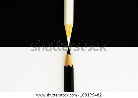 black and white pencils - stock photo
