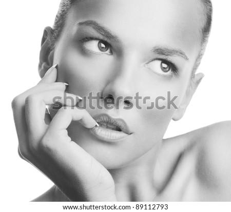 Black and white photo of a beautiful woman - stock photo