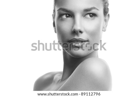 Black and white photo of a beautiful woman - stock photo