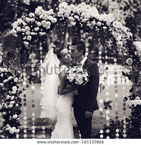 black and white photo of married couple - stock photo
