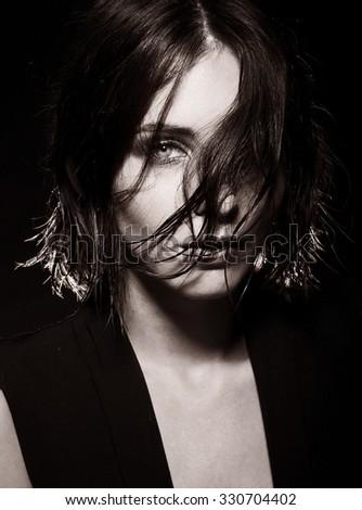 Black and white photo of sensual woman. - stock photo