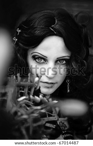 Black-and-white photo of the beautiful unusual girl