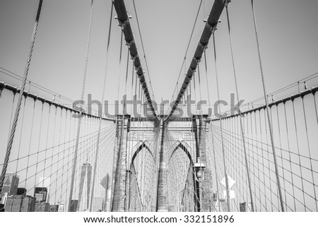 Black and white photo of the Brooklyn Bridge, NYC, USA.