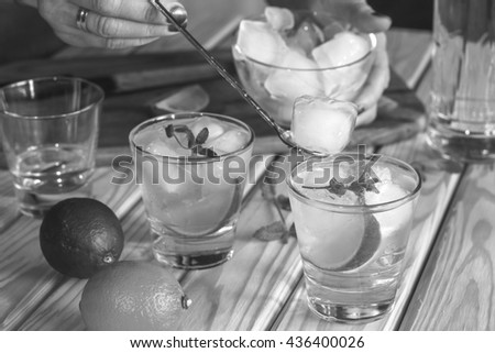 Black and white photo. Square shot. closeup. Cocktail vodka or gin with ice vintage, tequila. - stock photo