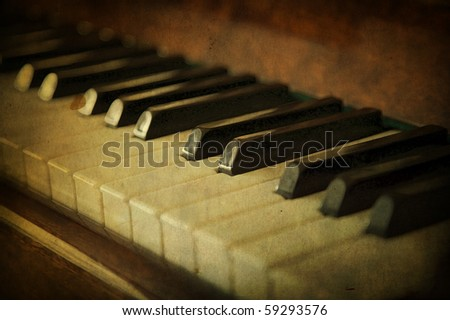 Black and white piano keys, music concept - stock photo