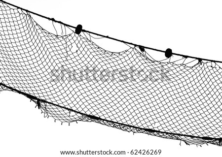 Black and white picture of an old fishing net - stock photo