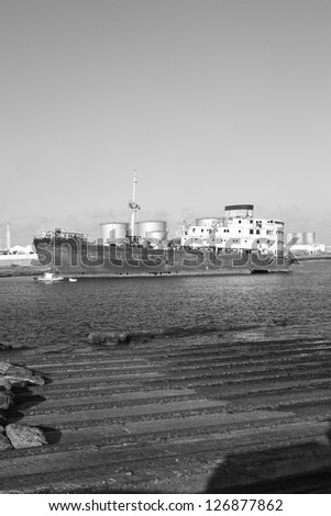 Black And White picture of an Old Wreck in the Port of Arrecife (Lanzarote Island Spain) - stock photo