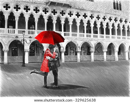 Black and white pictures with colour red detail digital illustration in draw sketch