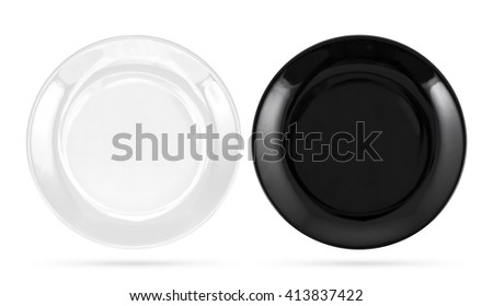 Black and white plates isolated on white background - stock photo
