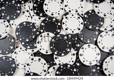 Black And White Poker Chip Background - stock photo